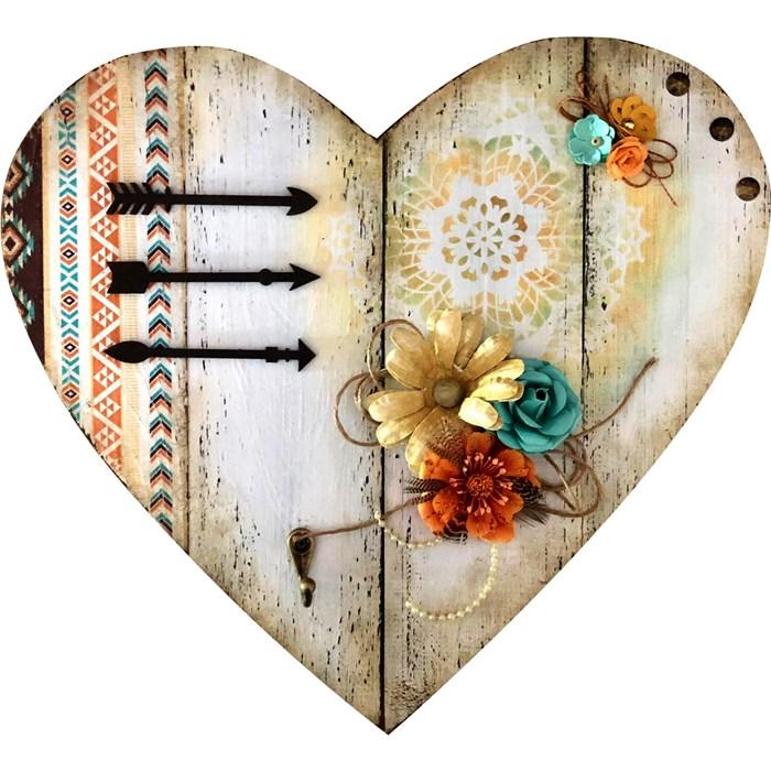 Placa pallet coração com decoupage com guardanapos e patina provençal