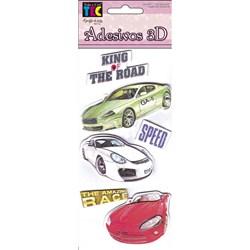 Adesivo 3D com 6 unidades 10703 Carros Velozes