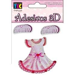 Adesivo 3D Vestido Rosa 10720 (AD1165) Toke e Crie