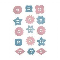 Adesivo botão em feltro FL03-01 - Azul/Rosa - 15 unidades