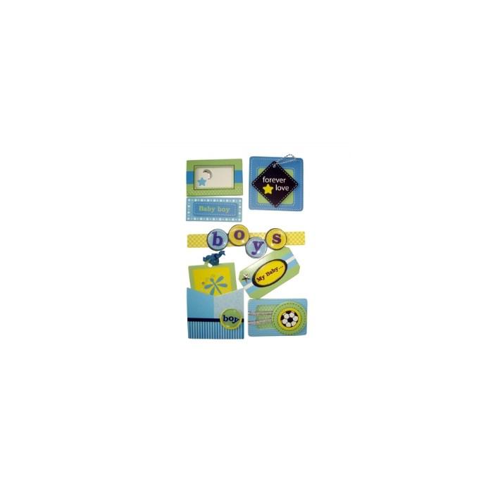 Adesivo Chipboard Baby Boy CB7 - Cartela com 7 Pçs