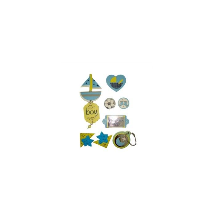 Adesivo Chipboard Baby Boy CB8 - Cartela com 8 Pçs