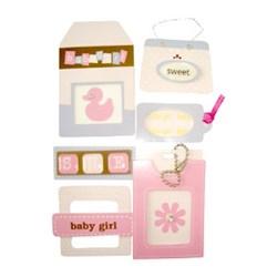 Adesivo Chipboard Baby Girl CB4 - Cartela com 6 Pçs