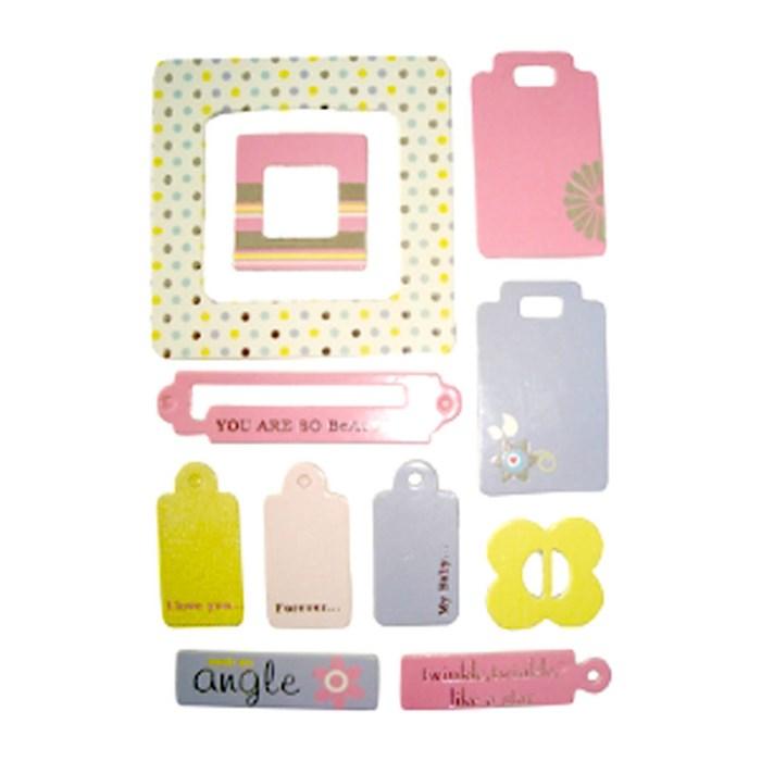 Adesivo Chipboard Baby Girl CB5 - Cartela com 10 Pçs