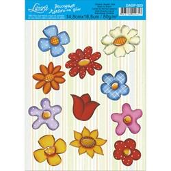 Adesivo com Glitter Litoarte 14,8x18,8cm DAGP-023 Flores