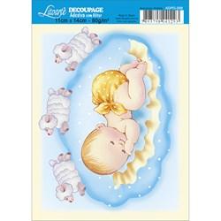 Adesivo com Glitter Litoarte ADPG-009 Menino bebê e Carneirinhos