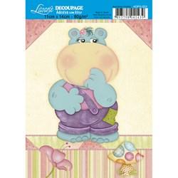 Adesivo com Glitter Litoarte ADPG-023 Hipopótamo