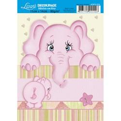 Adesivo com Glitter Litoarte ADPG-024 Elefante Rosa