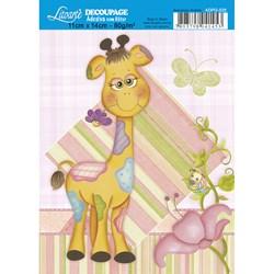 Adesivo com Glitter Litoarte ADPG-025 Girafa