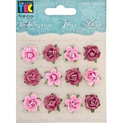 Adesivo Flor Mini Pink 10854 Toke e Crie com 12 Unidades