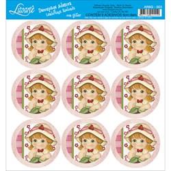 Adesivo para Lembranças com Glitter Litoarte AR6G-003 Morango