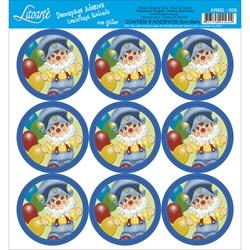 Adesivo para Lembranças com Glitter Litoarte AR6G-008 Palhaços