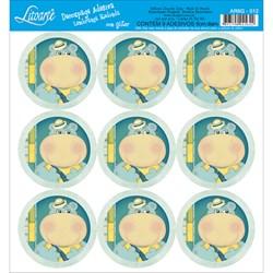 Adesivo para Lembranças com Glitter Litoarte AR6G-012 Hipopótamo