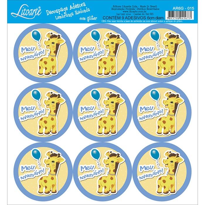 Adesivo para Lembranças com Glitter Litoarte AR6G-015 Girafa
