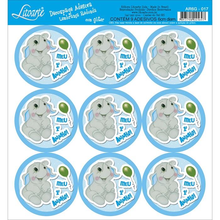 Adesivo para Lembranças com Glitter Litoarte AR6G-017 Elefante