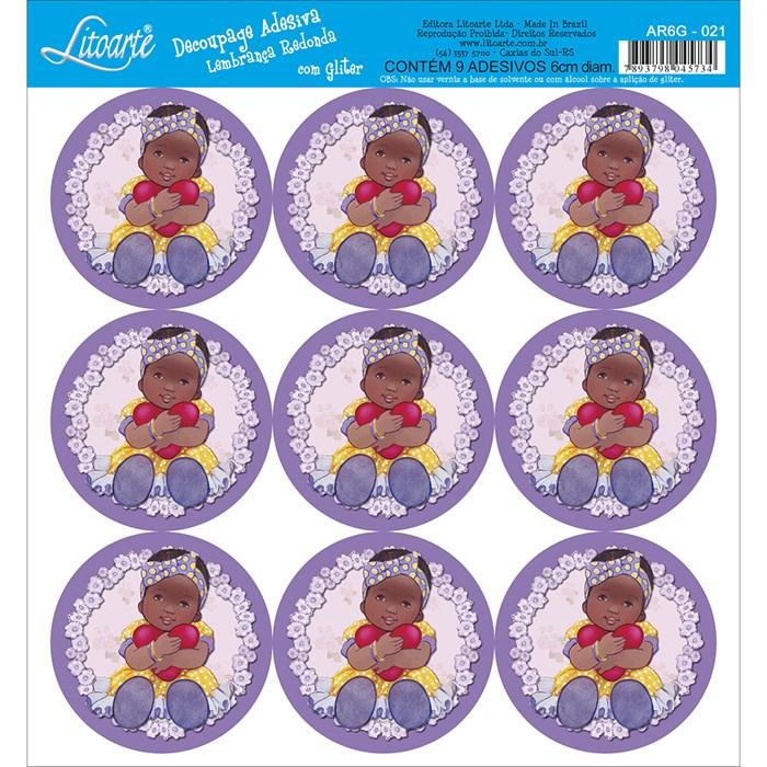 Adesivo para Lembranças com Glitter Litoarte AR6G-021 Menina