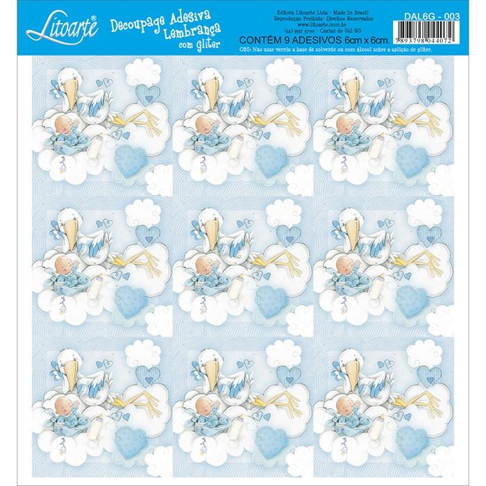 Adesivo para Lembranças com Glitter Litoarte DAL6G-003 Infantil
