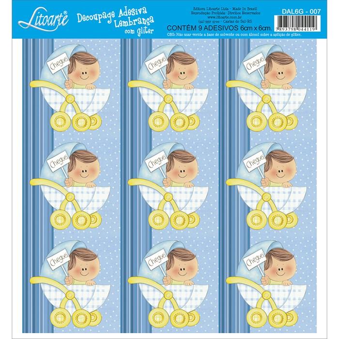 Adesivo para Lembranças com Glitter Litoarte DAL6G-007 Infantil