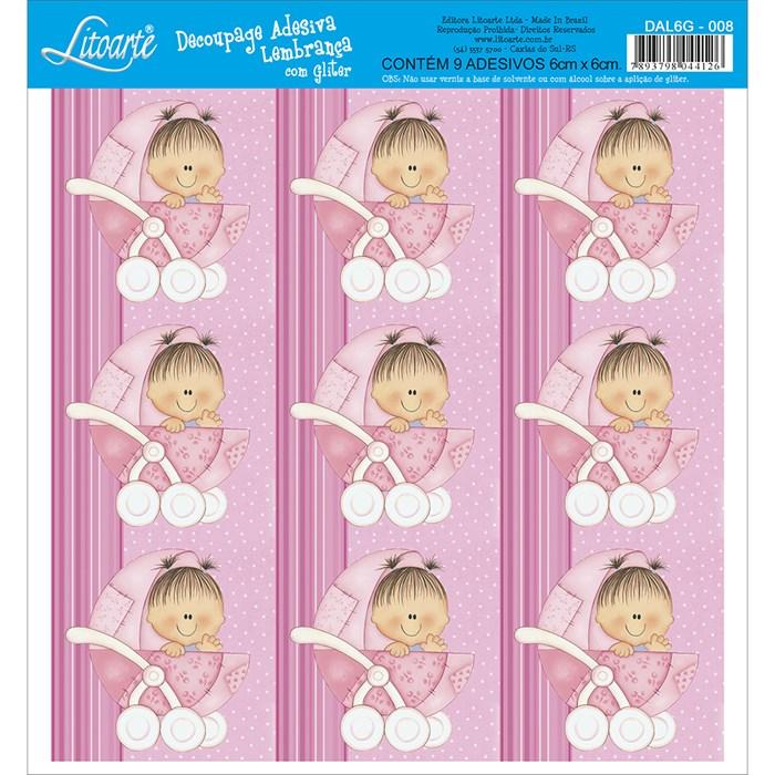 Adesivo para Lembranças com Glitter Litoarte DAL6G-008 Infantil