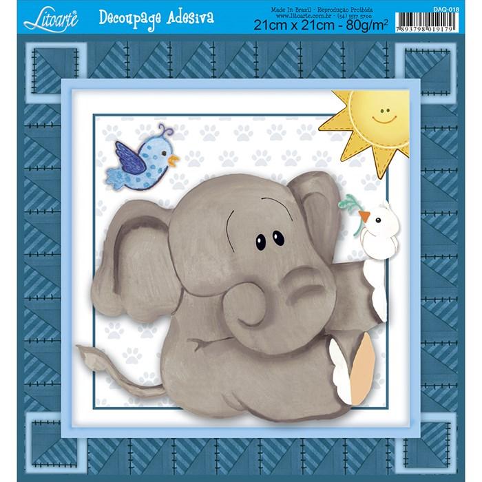 Adesivo Quadrado 21x21cm Litoarte DAQ-018 Elefante Infantil