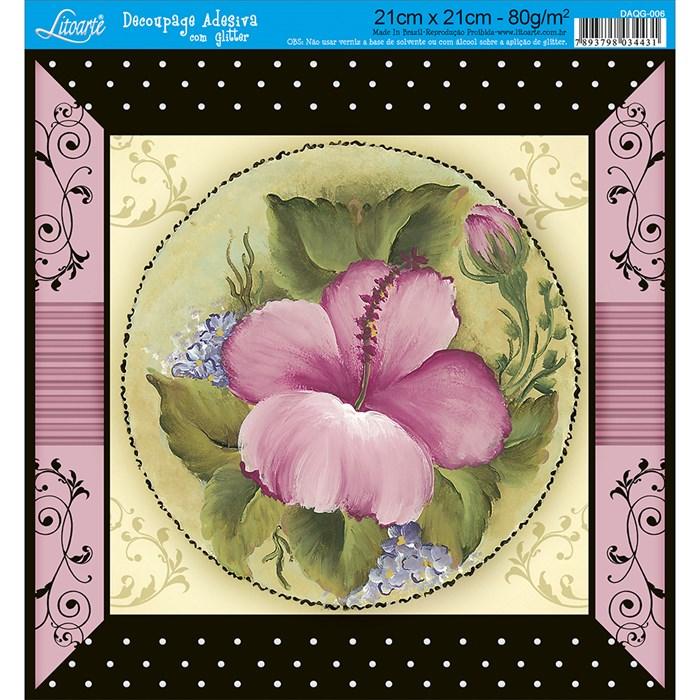 Adesivo Quadrado com Glitter Litoarte DAQG-006 Flor Rosa