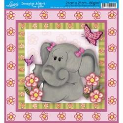 Adesivo Quadrado com Glitter Litoarte DAQG-007 Elefante