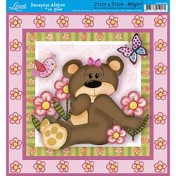 Adesivo Quadrado com Glitter Litoarte DAQG-008 Urso