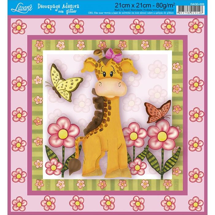 Adesivo Quadrado com Glitter Litoarte DAQG-009 Girafa