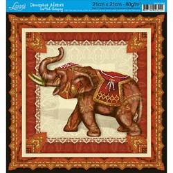 Adesivo Quadrado com Hot Stamping DAQH-004 Elefante Vermelho
