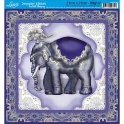 Adesivo Quadrado com Hot Stamping DAQH-005 Elefante Roxo