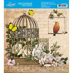 Adesivo Quadrado Litoarte 20x20cm DA20-022 Gaiola , Flores e Passaro