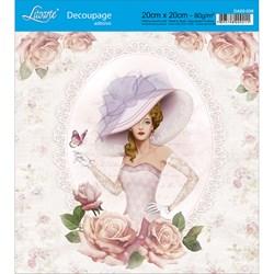 Adesivo Quadrado Litoarte 20x20cm DA20-038 Rosas Shabby Chic Dama