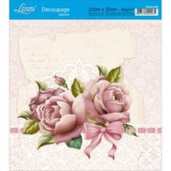 Adesivo Quadrado Litoarte 20x20cm DA20-040 Rosas e Laços