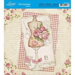 Adesivo Quadrado Litoarte 20x20cm DA20-044 Rosas e Manequim