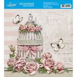 Adesivo Quadrado Litoarte 20x20cm DA20-056 Gaiola, Rosas e Borboletas