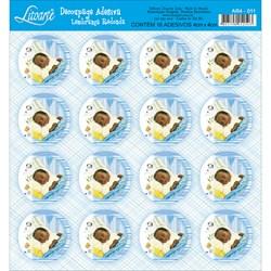 Adesivo Redondo para Lembranças Litoarte AR4-011 Bebê Azul