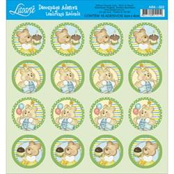 Adesivo Redondo para Lembranças Litoarte AR4-022 Ursinho