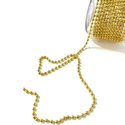 Aljofre de Metal Dourado 3mm - com 2 metros