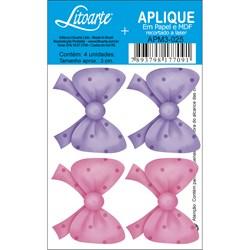 Aplique em Papel e MDF APM3-025 Laço Rosa e Lilás
