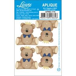 Aplique em Papel e MDF APM3-174 Urso de Coroa-Marinho