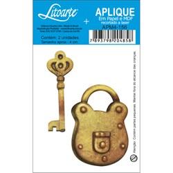 Aplique em Papel e MDF APM4-156 Cadeado e Chave Dourada