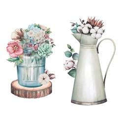 Aplique Em Papel e MDF APM4-437 Vaso de Flor