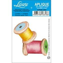 Aplique em Papel e MDF APM8-089 Carretel Rosa e Amarelo
