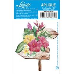 Aplique em Papel e MDF APM8-1087 Flores Tropicais