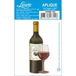 Aplique em Papel e MDF APM8-183 - Garrafa Vinho e Taça