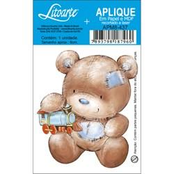 Aplique em Papel e MDF APM8-437 Urso Trem