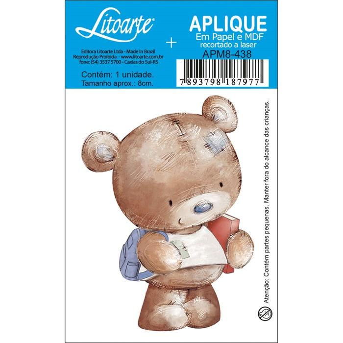 Aplique em Papel e MDF APM8-438 Urso Mochila