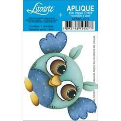 Aplique em Papel e MDF APM8-473 Coruja Azul Olhuda