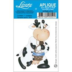 Aplique em Papel e MDF APM8-478 Vaca com Cesto de Ovos
