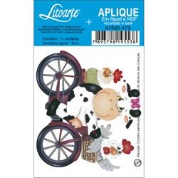 Aplique em Papel e MDF APM8-479 Vaca de Bicicleta